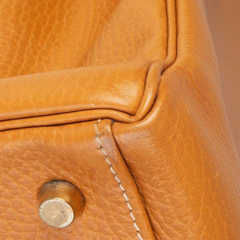 HERMES Naturelle beige Ardennes leather & Gold KELLY II 35 RETOURNER Bag For Sale 5