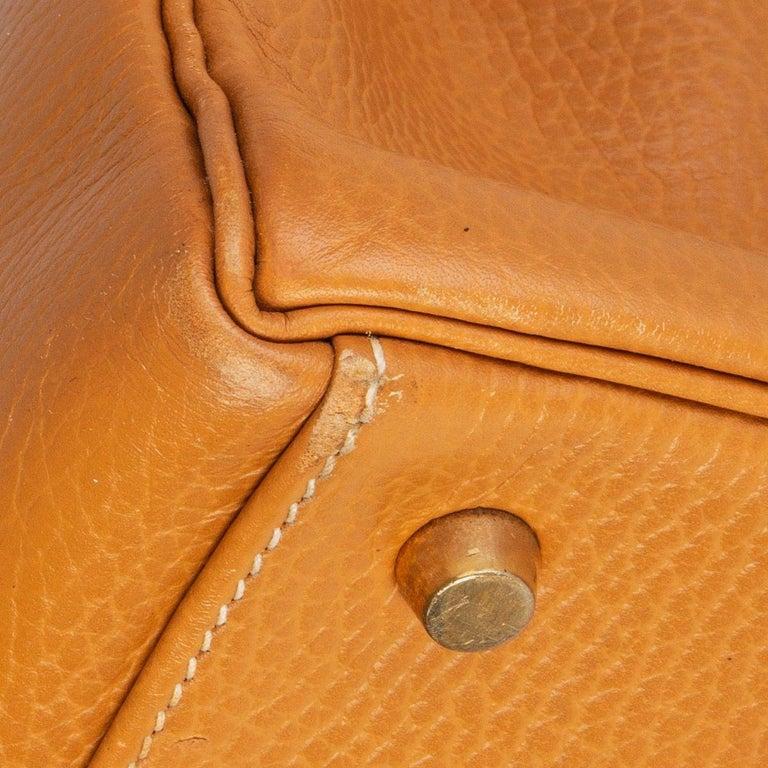 HERMES Naturelle beige Ardennes leather & Gold KELLY II 35 RETOURNER Bag For Sale 6