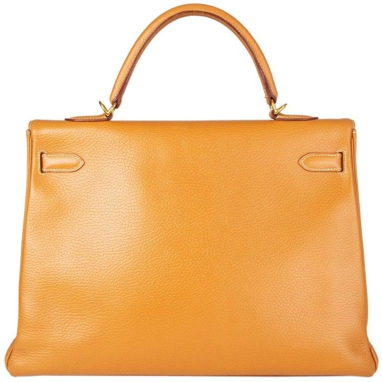 Orange HERMES Naturelle beige Ardennes leather & Gold KELLY II 35 RETOURNER Bag For Sale