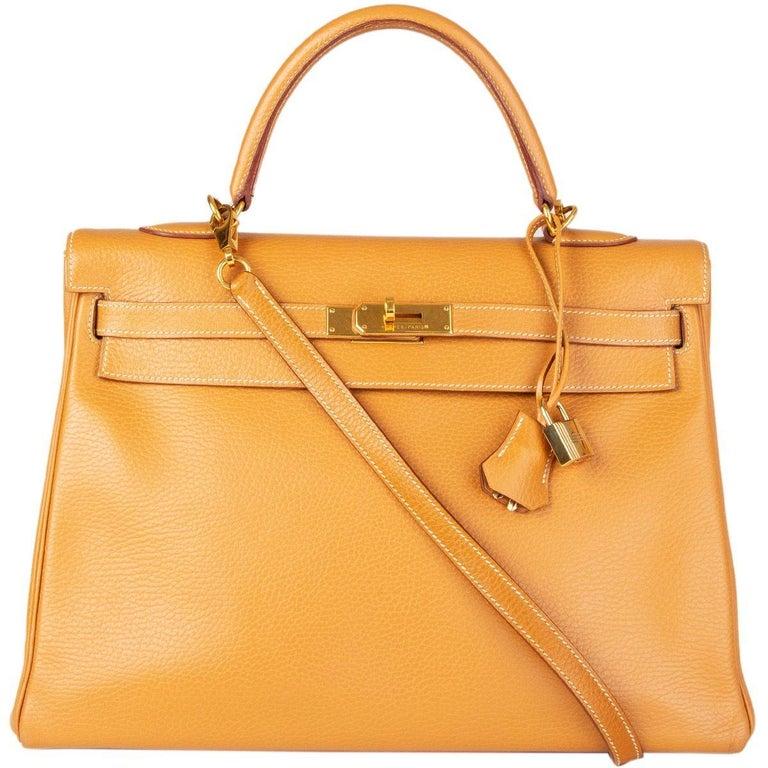 Women's HERMES Naturelle beige Ardennes leather & Gold KELLY II 35 RETOURNER Bag For Sale