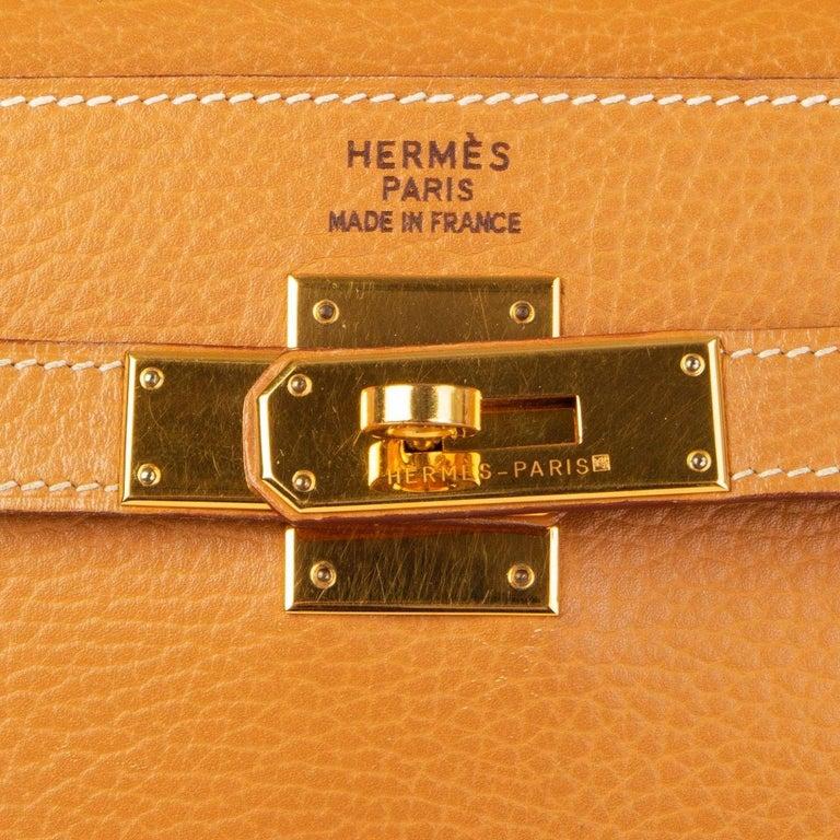 HERMES Naturelle beige Ardennes leather & Gold KELLY II 35 RETOURNER Bag For Sale 1