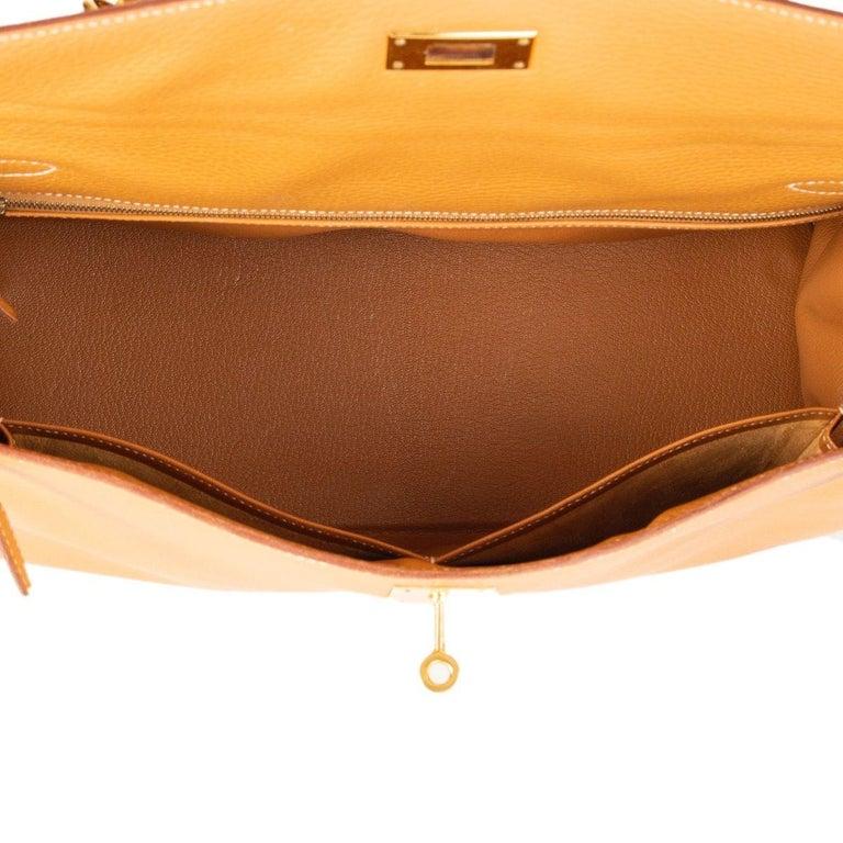 HERMES Naturelle beige Ardennes leather & Gold KELLY II 35 RETOURNER Bag For Sale 2