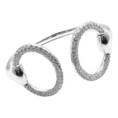Hermès Nausicaa Diamond Horsebit White Gold Cuff Bangle Bracelet