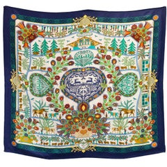 Hermes Navy & Multi-Color Decoupahes 90cm Silk Scarf