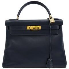 Hermes Navy Blue Box Supple Leather 28cm Kelly Bag, 1973