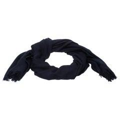 Hermes Navy Blue Cashmere Silk Infinity Shawl