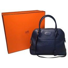 Hermes Navy Blue Clemence 31cm Bolide Bag and Shoulder Strap