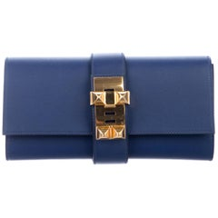 Hermes Navy Blue Leather Gold Collier Evening Envelope Clutch Flap Bag