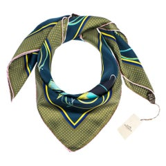 Hermes Navy Blue & Olive Transformation Cars Silk Twill Square Scarf