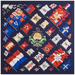 Hermes navy blue PAVOIS 90 silk Scarf