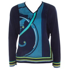 Hermes Navy Blue Printed Cotton Silk Long Sleeve Sweater Top S
