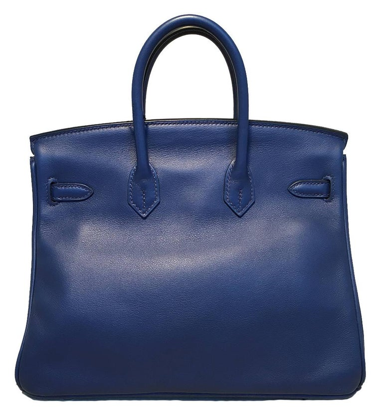 Hermes Navy Blue Swift Leather 25cm Birkin Bag PHW In New Condition For Sale In Philadelphia, PA