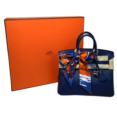 Hermes Navy Blue Swift Leather 25cm Birkin Bag PHW
