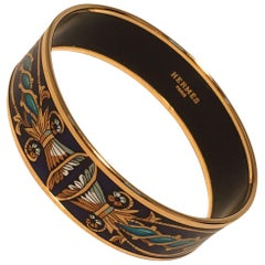 Hermes Navy Blue Teal and Gold Enamel Bangle Bracelet