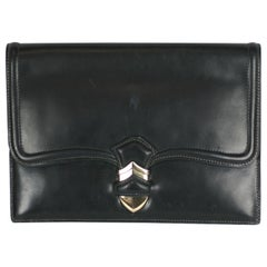 Hermes Navy Calf Pan Clutch with Sterling Silver Hardware
