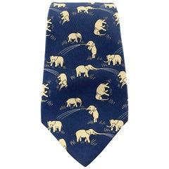 HERMES Navy Elephant Print Silk Tie 7111 OA