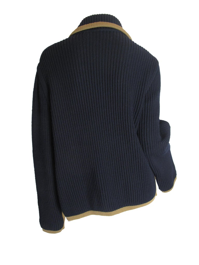 Hermes Navy Knit Cardigan In Good Condition In Austin, TX