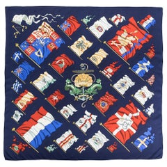 Hermes Navy Pavois by Ledoux Silk Scarf