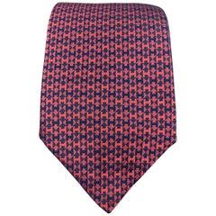 HERMES Navy & Red Diamond H Print Silk Tie