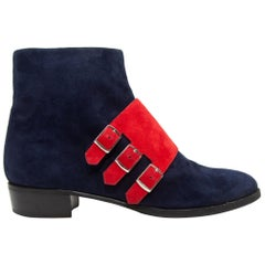 Hermes Navy & Red Suede Buckle Ankle Boots