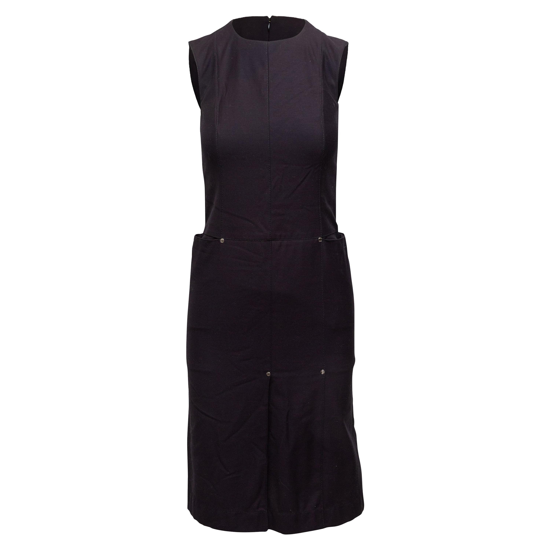 Hermes Navy Sleeveless Midi Dress