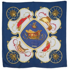 Hermes Navy Springs by Ledoux Silk Scarf