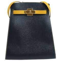 Hermes Navy Yellow Leather Gold Kelly Crossbody Shoulder Bag