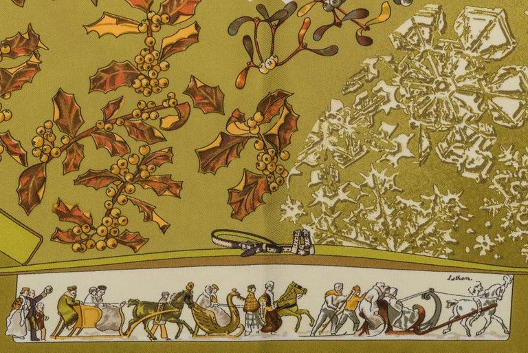 Brown Hermes Neige d'Antan Silk Pouchette Scarf For Sale