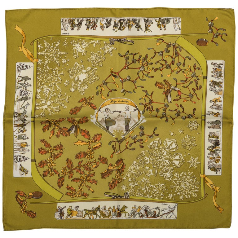 Hermes Neige d'Antan Silk Pouchette Scarf For Sale