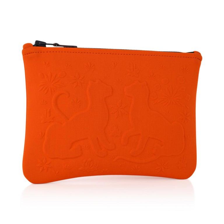 Hermes Neobain Les Leopard Embossed Orange Case  Small Model In New Condition For Sale In Miami, FL