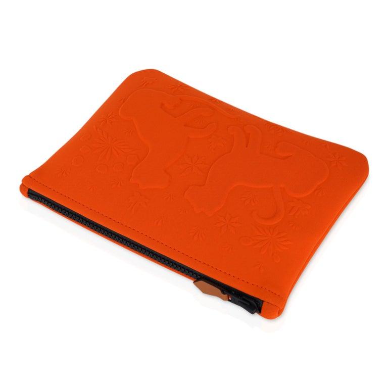 Women's or Men's Hermes Neobain Les Leopard Embossed Orange Case  Small Model For Sale