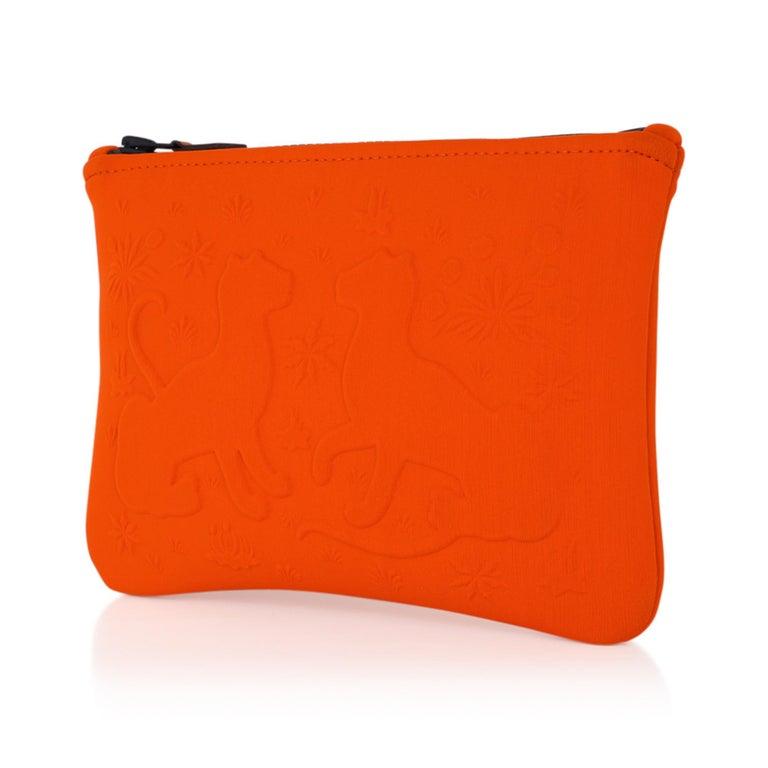 Hermes Neobain Les Leopard Embossed Orange Case  Small Model For Sale 1