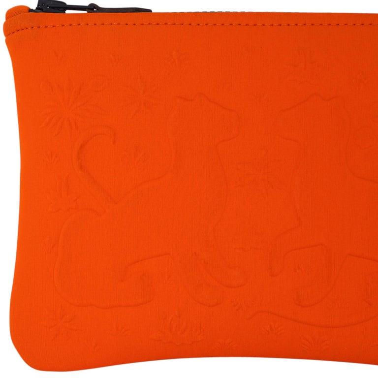 Hermes Neobain Les Leopard Embossed Orange Case  Small Model For Sale 2