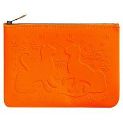 Hermes Neobain Les Leopard Embossed Orange Case  Small Model