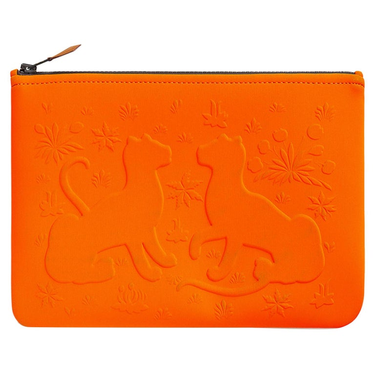 Hermes Neobain Les Leopard Embossed Orange Case  Small Model For Sale