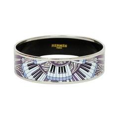 Hermes Neutral/Palladium Piano Printed Wide Enamel Bangle Bracelet sz 65