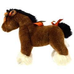 Hermes NEW Acrylic Brown Orange White Horse Children Plush Novelty Toy