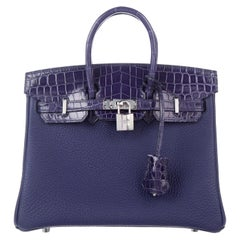 Hermes NEW Birkin 25 Blue Leather Croc Leather Top Handle Satchel ToteBag in Box