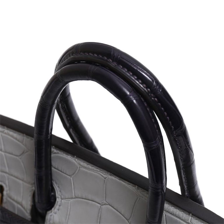 Hermes NEW Birkin 25 Gray Purple Crocodile Alligator Exotic Top Handle Satchel In New Condition For Sale In Chicago, IL