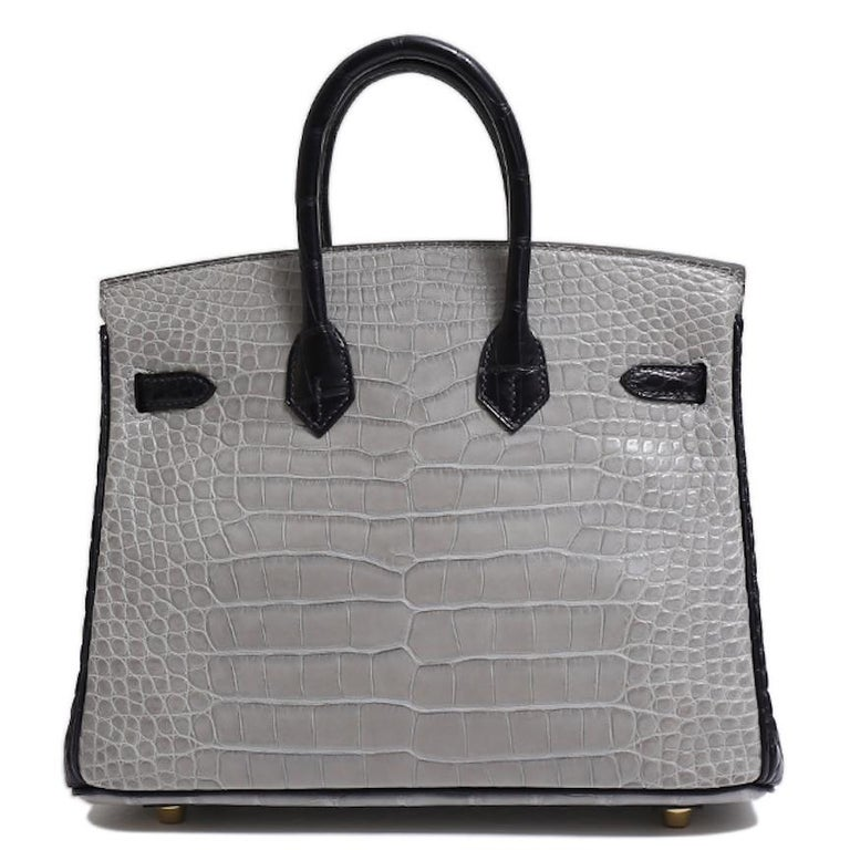 Hermes NEW Birkin 25 Gray Purple Crocodile Alligator Exotic Top Handle Satchel For Sale 1