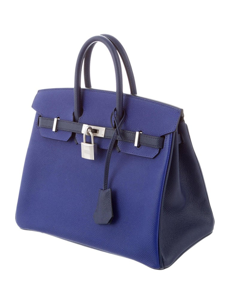 Hermes NEW Birkin 25 Limited Ed. Blue Palladium Top Handle Tote Shoulder Bag In New Condition For Sale In Chicago, IL