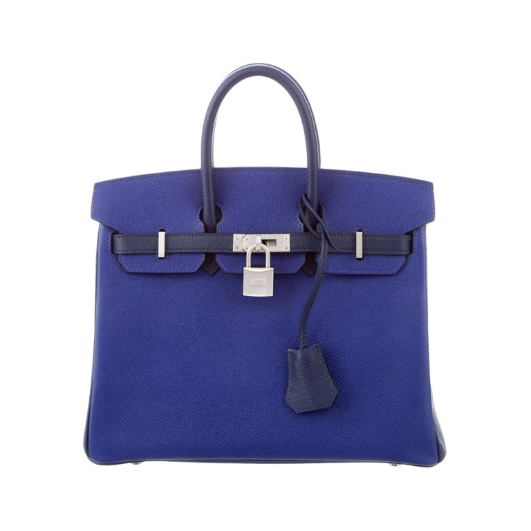 Hermes NEW Birkin 25 Limited Ed. Blue Palladium Top Handle Tote Shoulder Bag For Sale
