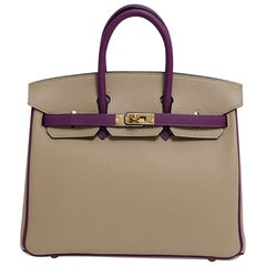 Hermes NEW Birkin 25 Limited Ed. Taupe Purple Gold Top Handle Tote Shoulder Bag