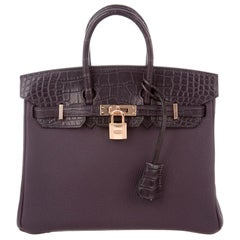 Hermes NEW Birkin 25 Purple Alligator Exotic Rose Top Handle Tote Shoulder Bag