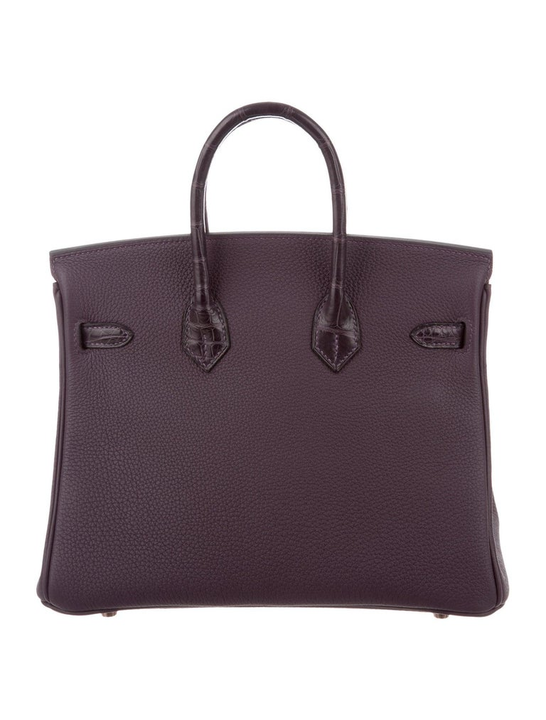 Hermes NEW Birkin 25 Purple Leather Alligator Top Handle Tote Shoulder Bag In New Condition For Sale In Chicago, IL