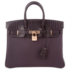 Hermes NEW Birkin 25 Purple Leather Alligator Top Handle Tote Shoulder Bag