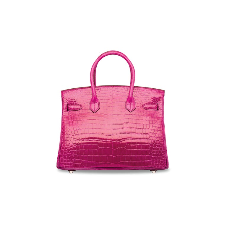 Hermes NEW Birkin 25 Rose Crocodile Diamond White Gold Top Handle Satchel Bag In New Condition For Sale In Chicago, IL