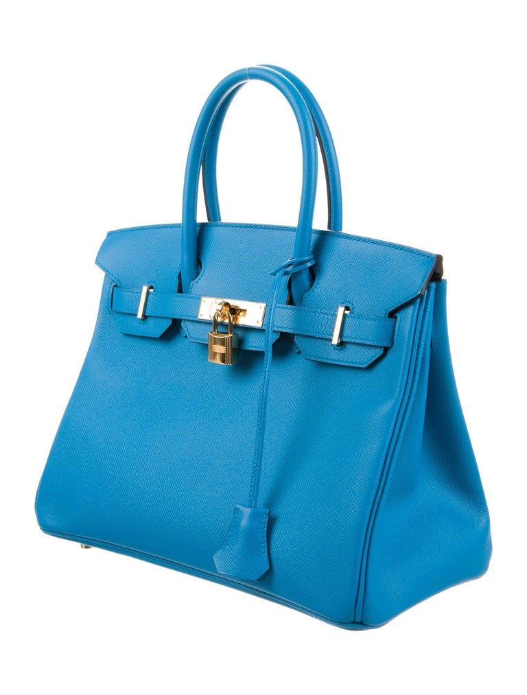 Hermes NEW Birkin 30 Aqua Blue Leather Gold Top Handle Satchel Tote Bag  Leather Gold tone hardware Leather lining Date code present Made in France Handle drop 3.5