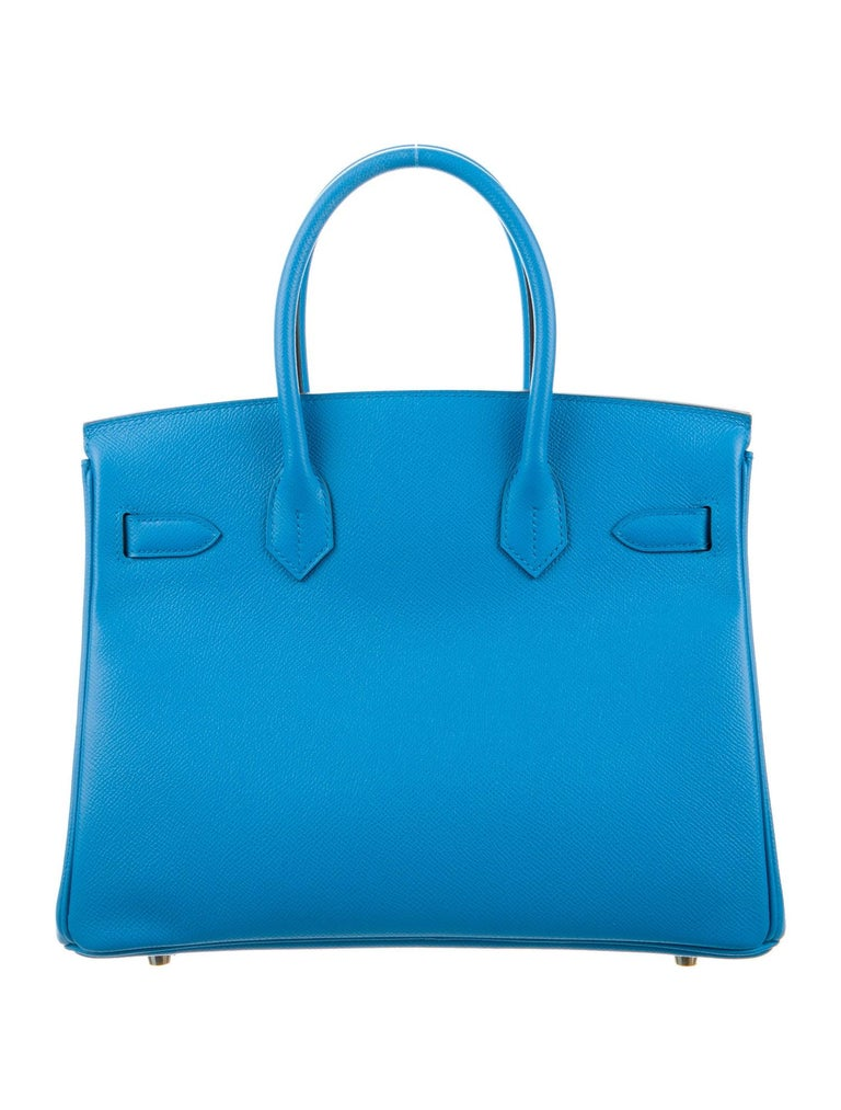 Hermes NEW Birkin 30 Aqua Blue Leather Gold Top Handle Satchel Tote Bag  In New Condition For Sale In Chicago, IL