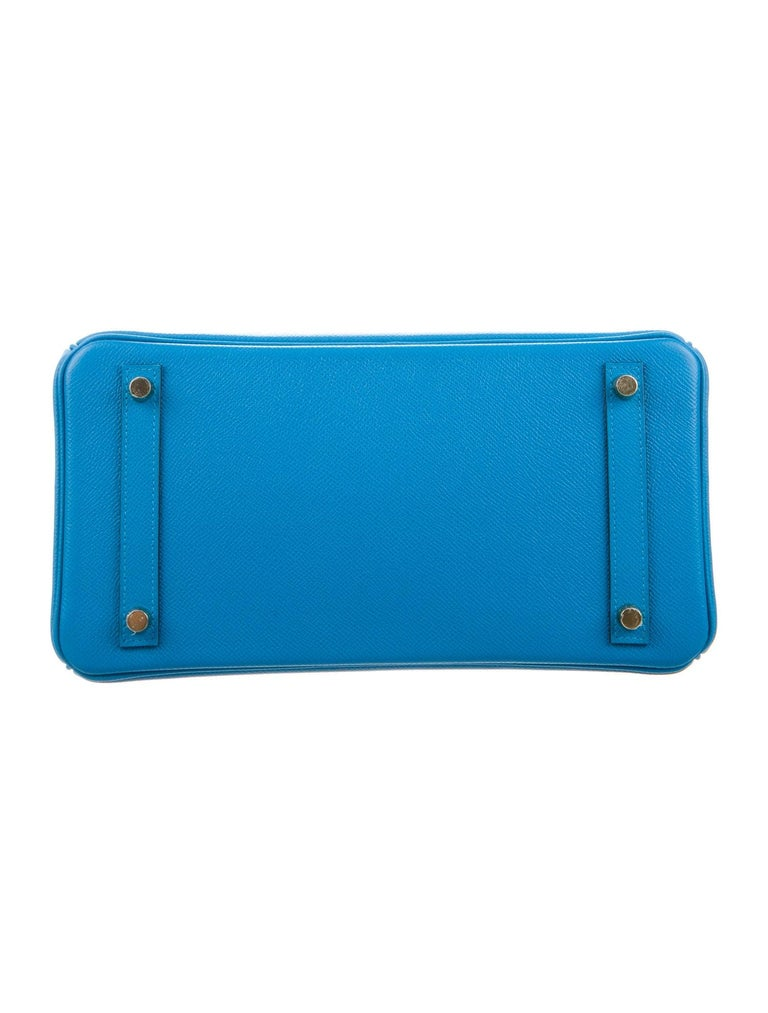 Women's Hermes NEW Birkin 30 Aqua Blue Leather Gold Top Handle Satchel Tote Bag  For Sale